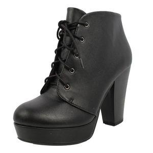 Black Faux Leather Lace Up Platform Ankle Boot
